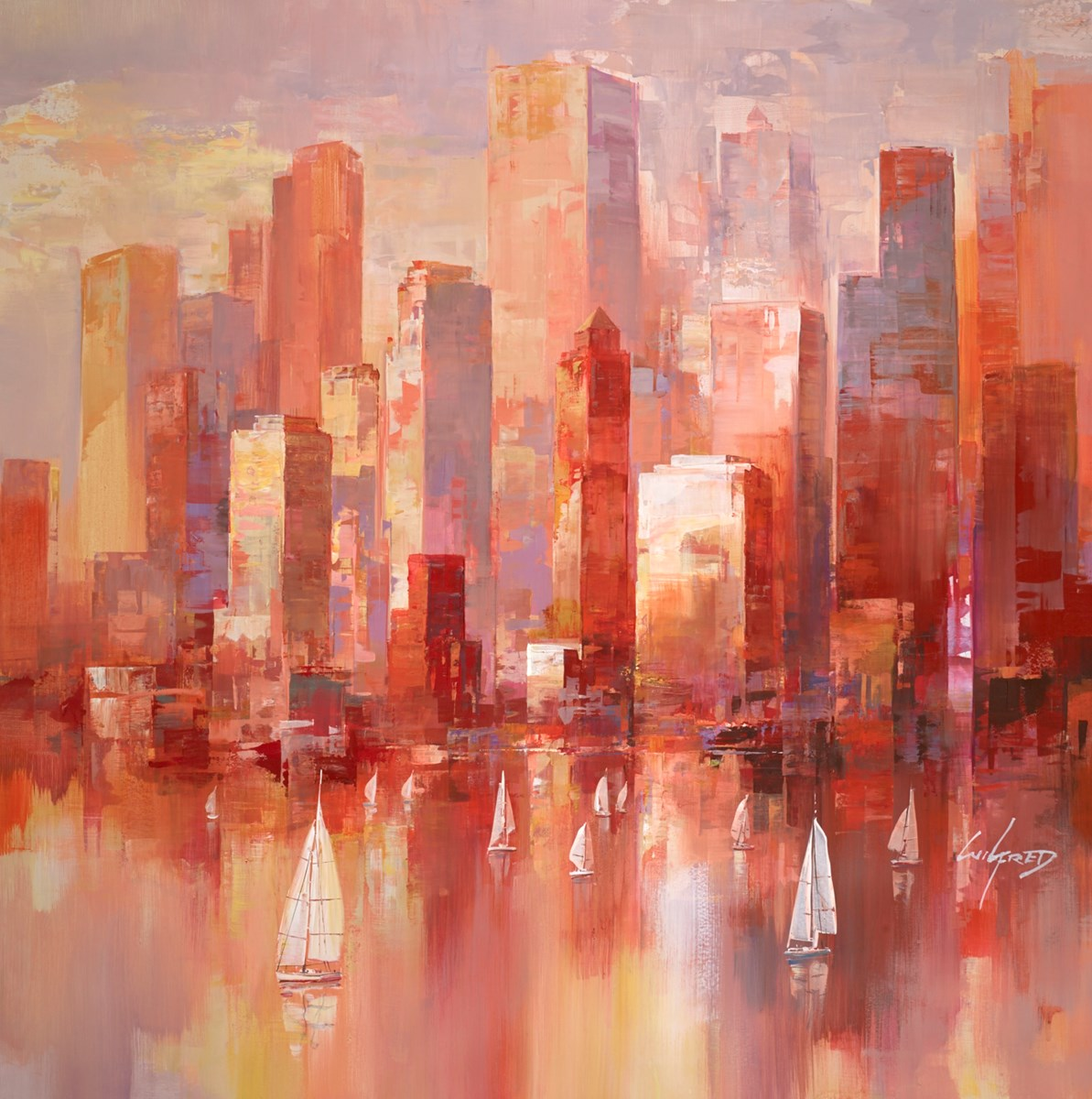 City Sundown V by wilfred -  sized 38x38 inches. Available from Whitewall Galleries